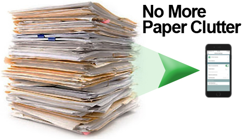 "Photo of a pile of paper statements with an arrow pointing to a smart phone.  The photo contains text which reads ""No More Paper Clutter""."