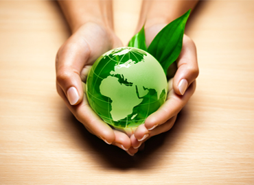 A set of hands holding a green globe with a leaf coming out of it.